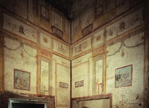 Domus Aurea. Frescos quarto estilo na sala 78. 64-68 d.C.
