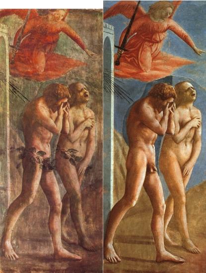 Fig 12. Masaccio. Expulsão de Adão e Eva do Paraíso. 1426-1428 (alterado em 1680 e restaurado em 1980)