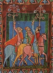 Os Três Reis Magos seguindo a Estrela. St. Albans Psalter, 1140.