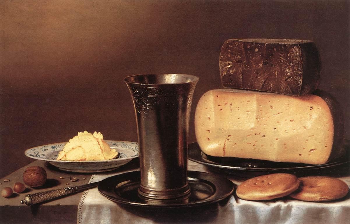 Floris Gerritsz van Schooten. (Holanda, 1585 - 1656) Natureza Morta com copo, queijo, manteiga e bolo.