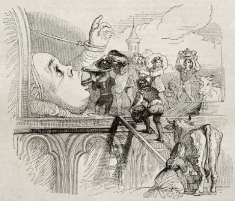 Grandville. A alimentação do bébé Gargântua. Magasin Pittoresque, 1840.