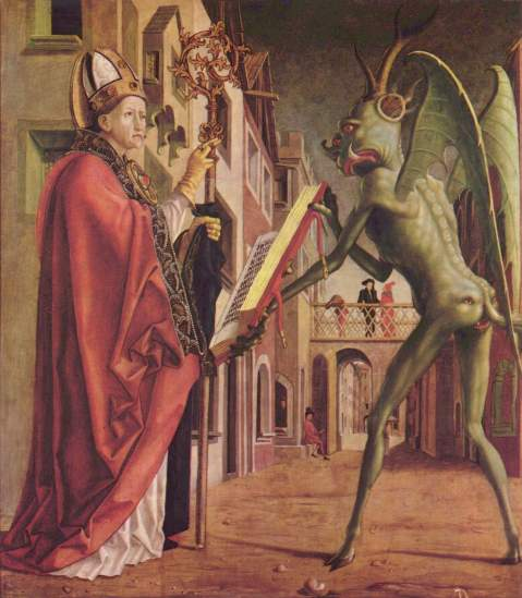 Michael Pacher, Saint Wolfgang and the Devil from the Fathers of the Church altarpiece, c. 1471-75