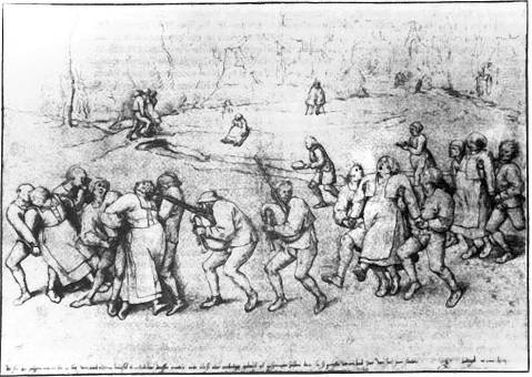 Pieter Brueghel, the Elder. «The Dancing Mania. Pilgrimage of the Epileptics to the Church at Molenbeek». 1564