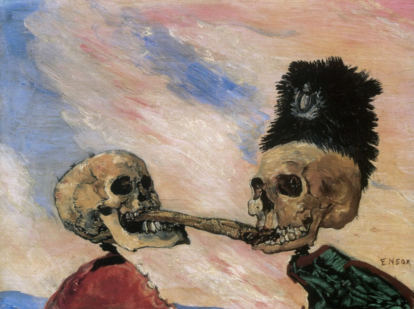 Figura 6. James Ensor. Esqueletos disputando um arenque fumado. 1891