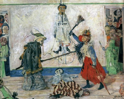 Figura 7. James Ensor. Esqueletos disputando um cadáver. 1891