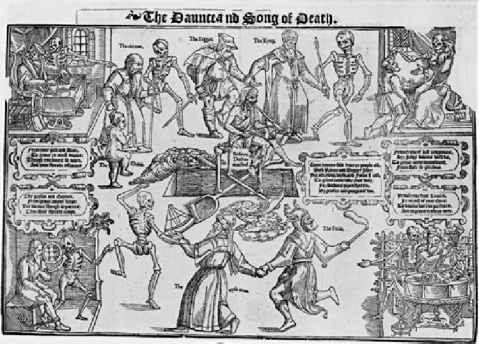 Figura 2- The Daunce and Song of Death', published by John Audelay in 1569
