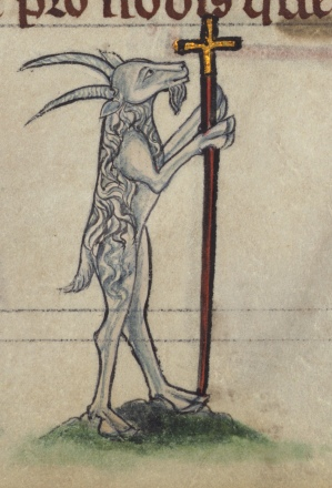 Book of Hours, Goat carrying crucifix, Walters Manuscript. Sec. XIII