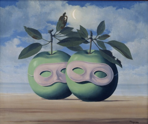 René Magritte, Les pommes masquées. 1966