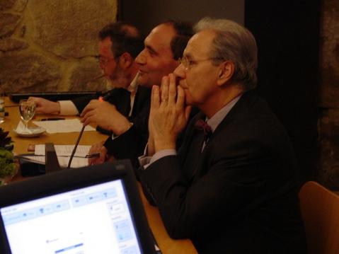 Michel Maffesoli, José da Silva Lima e José Bragança de Miranda. Seminário O Trágico e o Grotesco no Mundo Contemporâneo. Tibães, 2005.