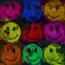 David G. Paul. Abstract smiley faces