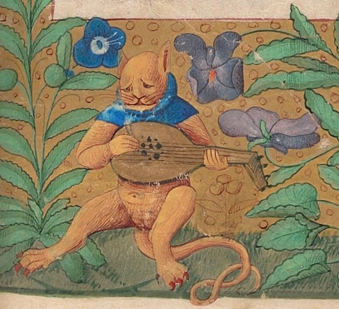 02. MELANCHOLY CAT Book of Hours, France 15th century. Beinecke, MS 662, fol. 21r