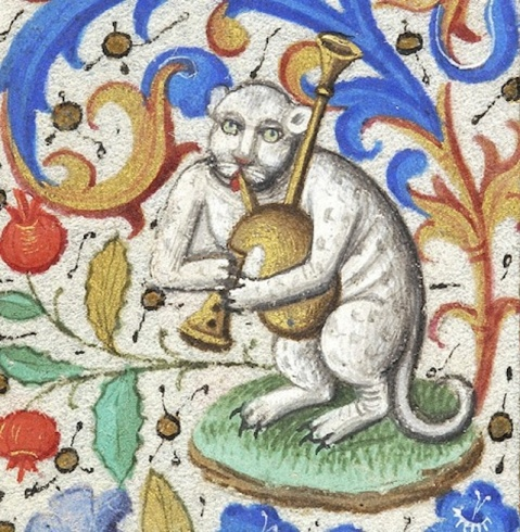 03. Bagpipes cat book of hours, Paris ca. 1460 (NY, Morgan Library & Museum, MS M.282, fol. 133v).
