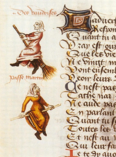 Illustrations depicting Waldensians as witches in Le champion des dames, by Martin Le France, 1451.