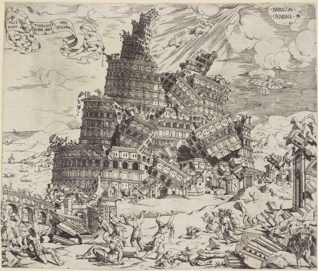 Cornelis Anthonisz. A Queda da Torre de Babel.1547