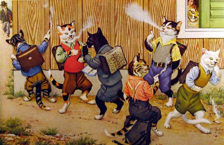 Mainzer & Kunzli. Dressed Cats Postcards. Smoking Cats. Início anos 1950.