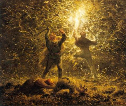 Jean-François Millet. Hunting Birds at Night.  1874.