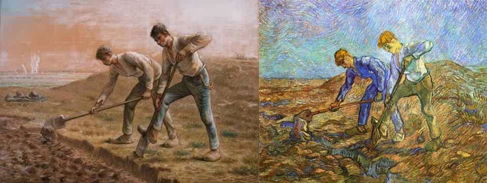 Millet. Two Men Turning Over the Soil. 1866. Van Gogh. Two Peasants Digging. 1889.