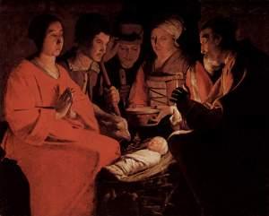 Georges_de_La_Tour.  L'adoration des bergers. Cerca de 1645.