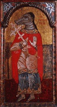 S. Cristóvão cinocéfalo, ícone bizantino, Museu Bizantino de Atenas.