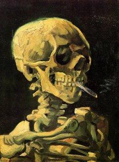Van Gogh. Caveira com cigarro aceso. 1885.