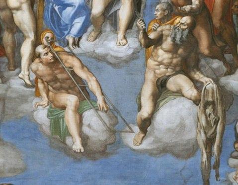 Miguel Ângelo. Juízo Final. 1535-1541. Pormenor com S. Lourenço e S. Bartolomeu (com o cutelo numa mão e a pele na outra)
