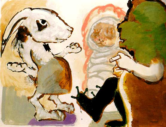 Paula Rego. Pregnant rabbit telling her Parents. 1982.
