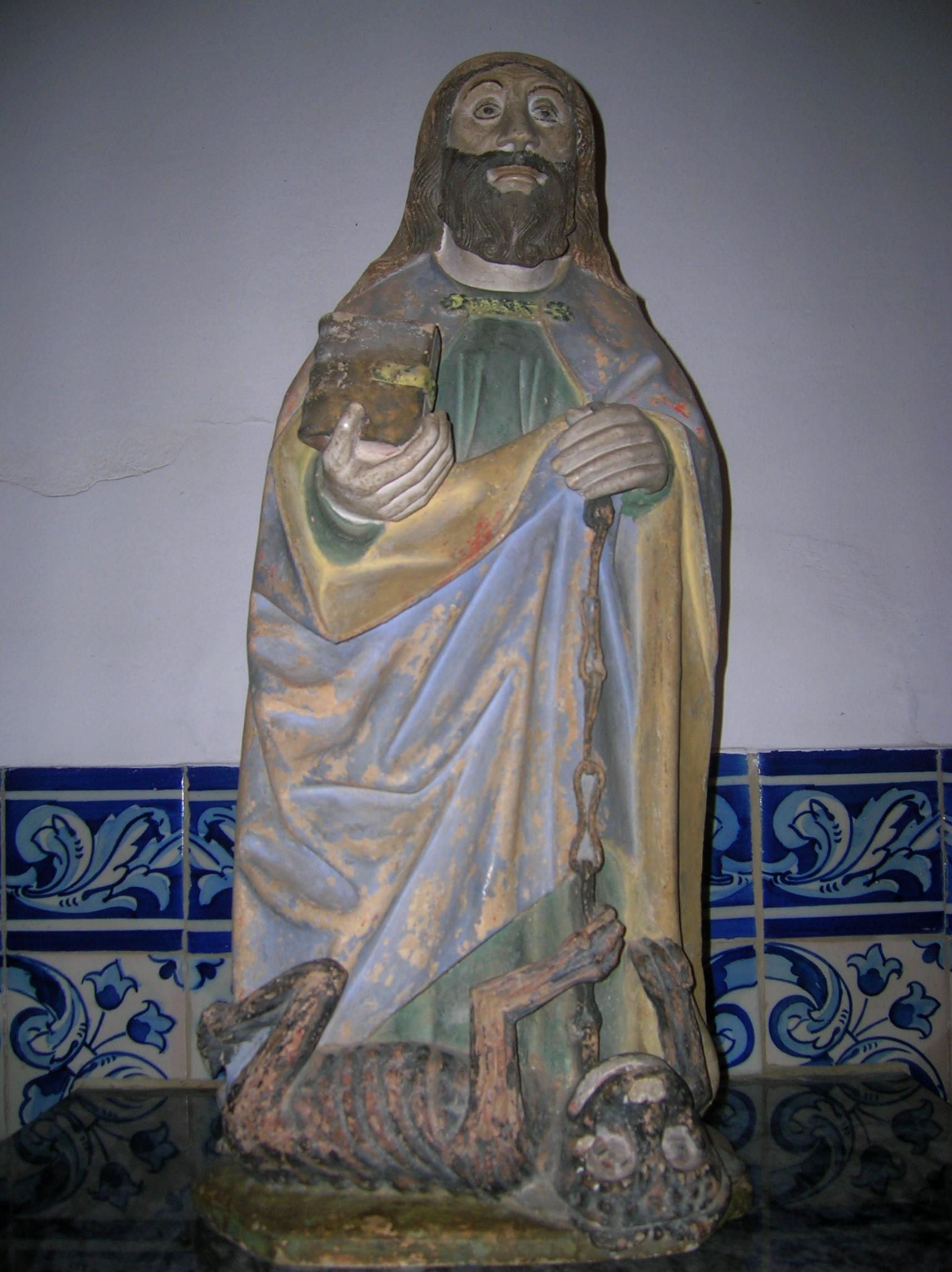 S. Bartolomeu. Vale da Pinta. Séc. XV ou XVI. Com a corrente que prende o diabo na mão esquerda, que simboliza o mal.