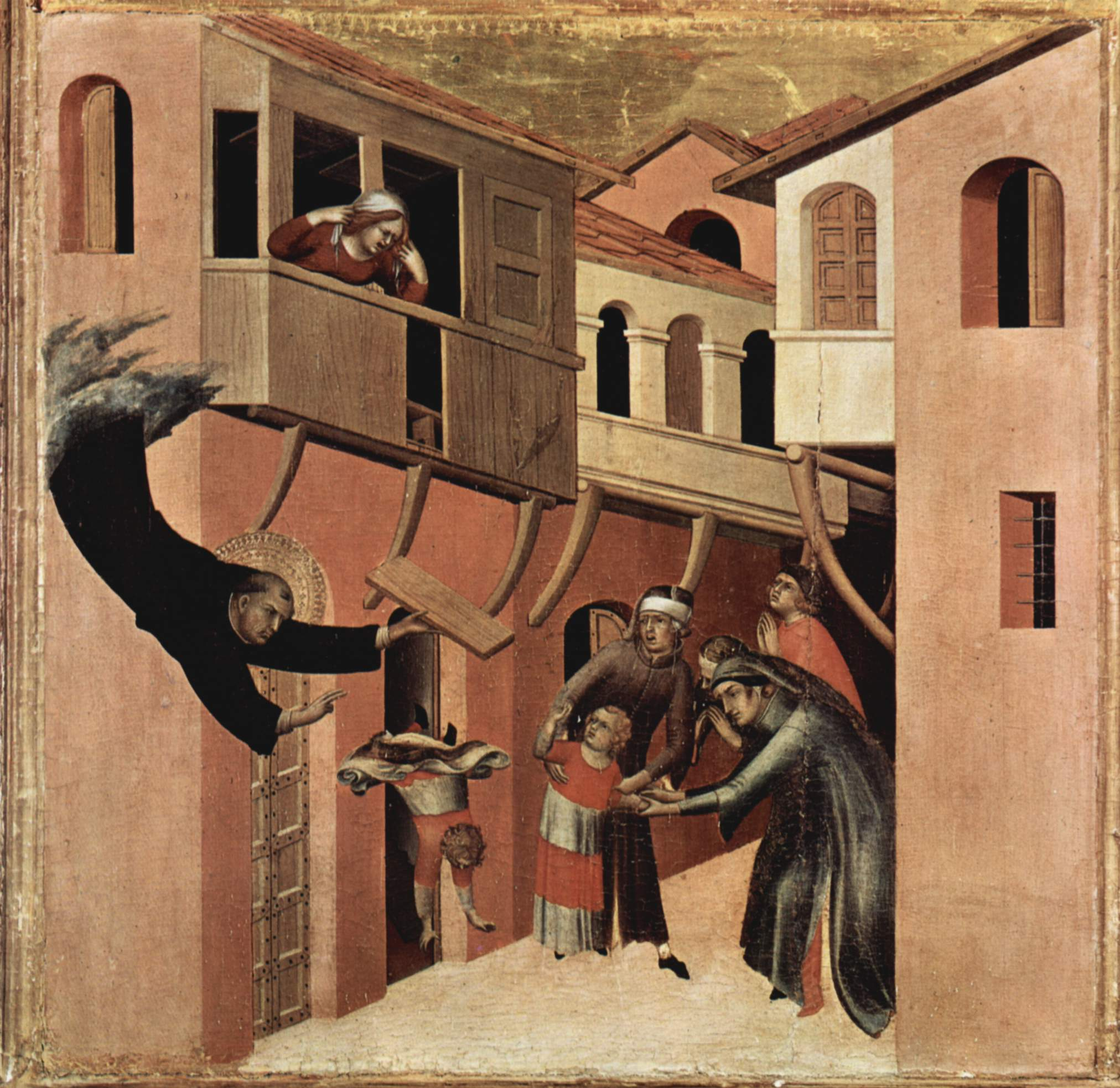 Simone Martini. The Miracle of the child falling from the balcony. Church of St. Augustine Novello, Siena, Italy. ca 1328.