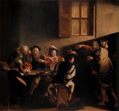 Calling of Saint Matthew. Contarini Chapel. The Calling of Saint Matthew. 1599–1600. Contarelli Chapel, San Luigi dei Francesi, Rome.