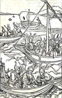 03 A Nave dos Loucos, de Sebastian Brant CXB. Gravura em madeira atribuida a Albrecht Durer. 1494.