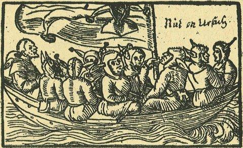 09. A Nave dos Loucos a caminho do País dos Tolos. Gravura em madeira, de 1549.