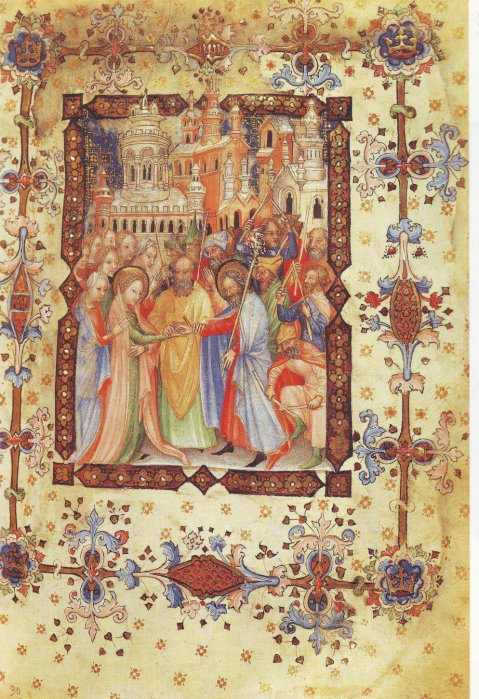 01 Casamento da Virgem Maria. Livro de Horas de Giangaleazzo Visconti, c. 1380. Por Giovanni de'Grassi.