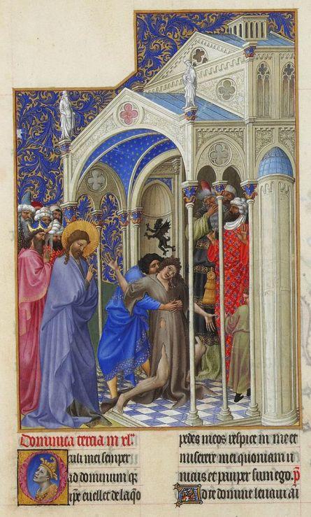 01 Cristo exorciza um jovem possuído por um demónio. Très Riches Heures du Duc de Berry, Séc. XV.