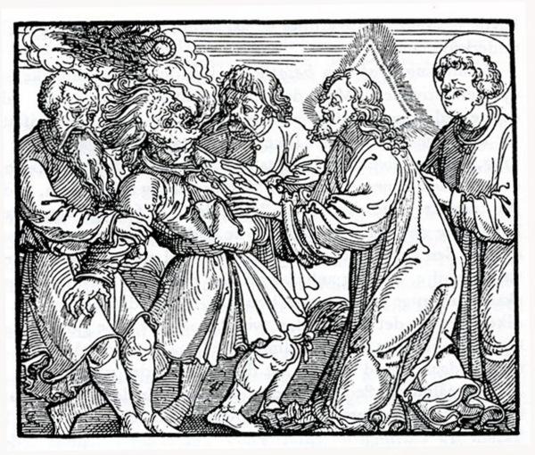 03 Jesus expulsa um demónio de um homem mudo. (De T. Troels Lund. A vida quotidiana na região nórdica VI, p 30).