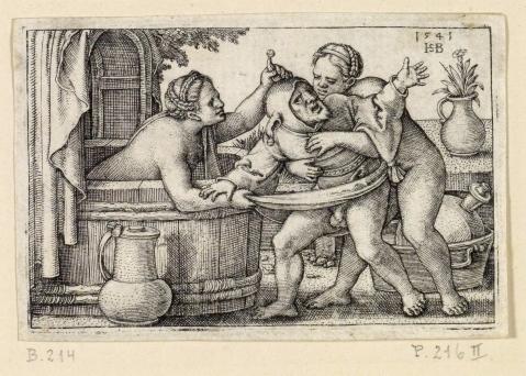 04 Hans Sebald Beham. O Bobo no Banho de Mulheres. 1541