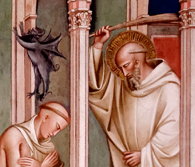06 Spinello Aretino, O Santo Liberta um monge possuído. Pormenor.