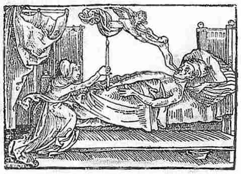 08 The Angel of Death, taking the soul, in the form of a child, from a dying man. From Reiter's Mortilogus, printed by Oegelin and Nadler, Augsburg, 1508.