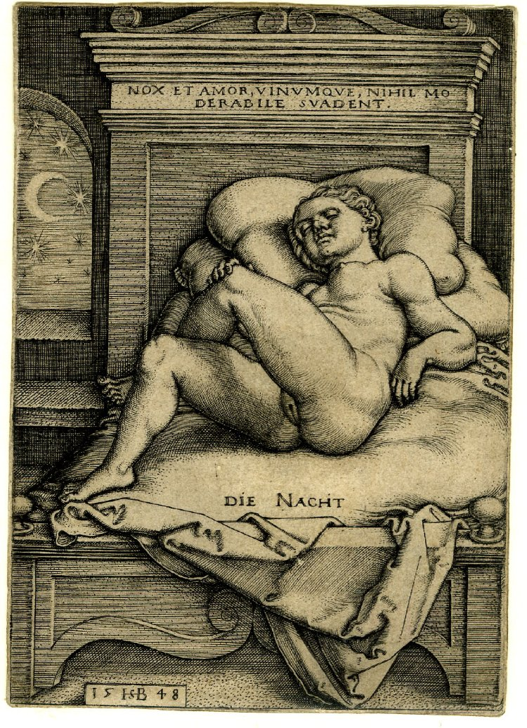 07 Nude woman lying asleep on a bed. After Sebald Beham. 1553.