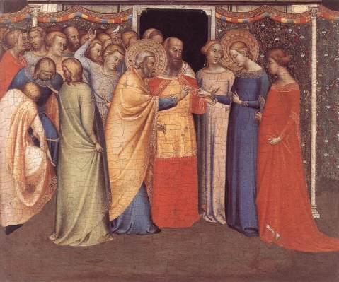 Bernardo Daddi. Casamento da Virgem. Políptico de San Pancrazio. 1335-40.