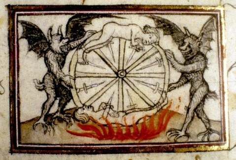 Demons and figures on Wheel. drawing, detail. Frrench 14th cent.