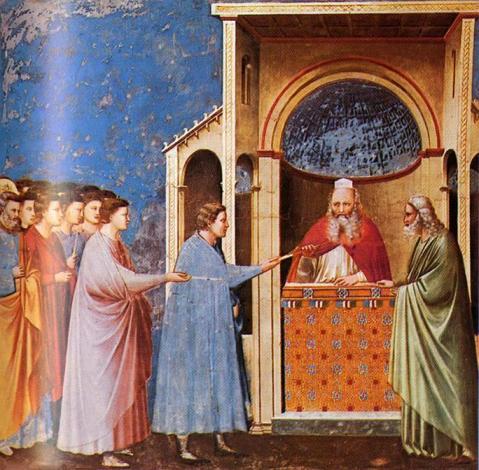 Giotto di Bondone. Capela Scrovegni . Pádua. A entrega das varas no templo. 1305.