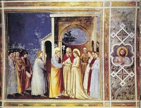 Giotto di Bondone. Capela Scrovegni . Pádua. Casamento da Virgem. 1305.