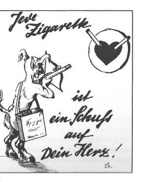 Imagem nazi. Cada cigarro é um tiro no coração.