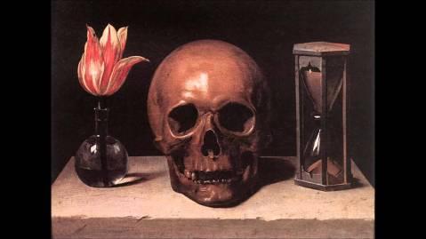 Philippe de Champaigne. Still Life With a Skull, c. 1671. Neste quadro, estão representadas três componentes da existência: a vida, a morte e o tempo.