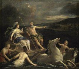 Bon Boullogne dit l'âinée. Neptune amenant Amphitrite dans un char marin. Início séc. XVIII