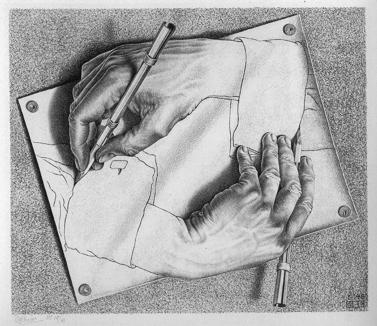 M.C. ESCHER, Drawing Hands, 1948