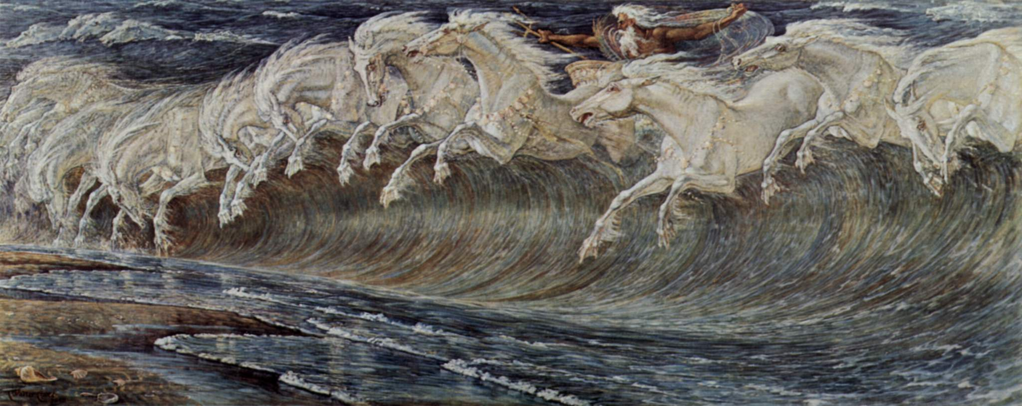 Walter Crane. Neptune's Horses (detalhe). 1882.