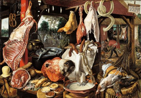 Figura 2. Pieter Aertsen. Butcher's Stall with the Flight into Egypt, 1551.