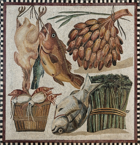 Figura 4. Still-life. Mosaic, Roman artwork, 2nd century CE. From a villa at Tor Marancia, near the Catacombs of Domitilla.