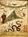 01 Baco e o Vesúvio. Museu Arqueológico Nacional de Nápoles. Fresco. Séc. I.